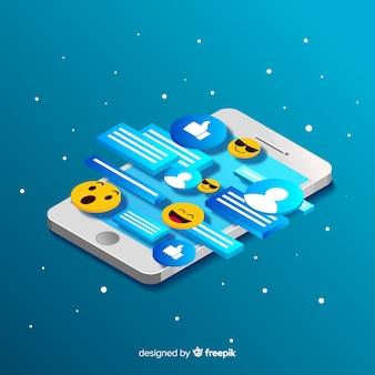 Telefono isometrico con il concetto di chat ed emoji