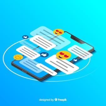 Telefono isometrico con il concetto di chat