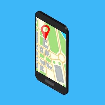 Telefono isometrico con navigazione della mappa su uno schermo. illustrazione.