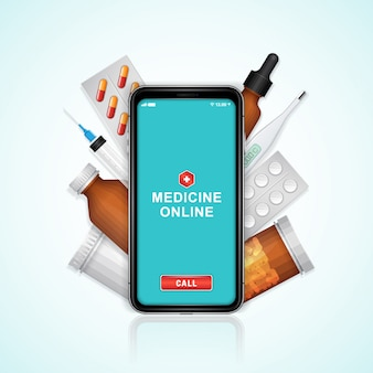 Telefono online sanitario e medico con set di bottiglie