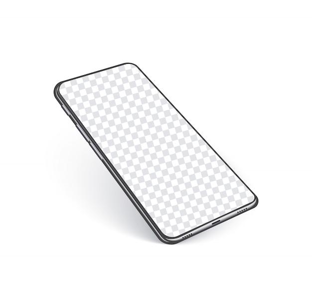 Telefono realistico, modello mobile nero astratto nell'angolo di prospettiva con lo schermo vuoto