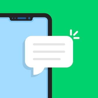 Telefono senza cornice di cartone animato come una chat online