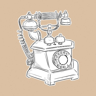 Telefono vintage, schizzo a mano.