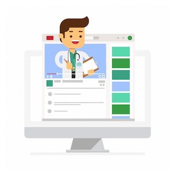 Telemedicina con medico sul computer