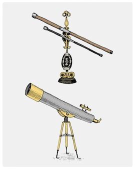 Telescopio astronomico, vintage, inciso a mano disegnato in stile schizzo o taglio legno, strumento scinetific retrò dall'aspetto antico per esplorare e scoprire
