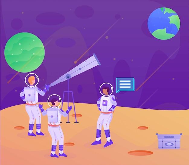 Telescopio dell'astronauta dalla pagina di atterraggio dell'illustrazione dalla luna alla terra