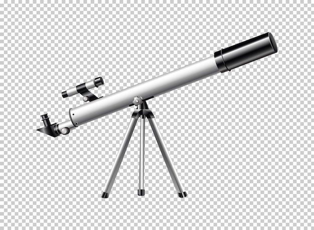 Telescopio moderno su sfondo trasparente