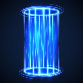 Teletrasporto futuristico di ologramma virtuale.