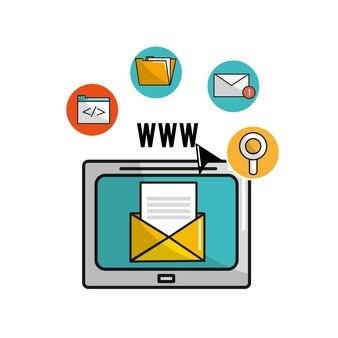 Televisione con dati di file cartella e icone digitali