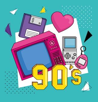 Televisione con elementi in stile arte anni novanta