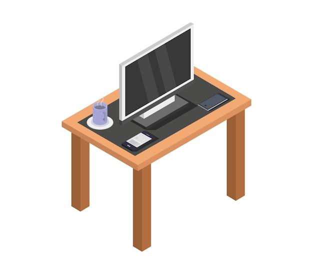 Televisione isometrica sul tavolo