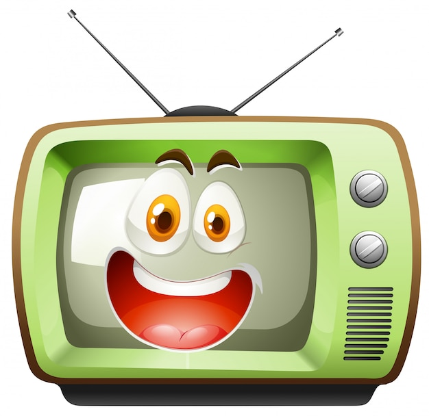 Televisione retrò con la faccia