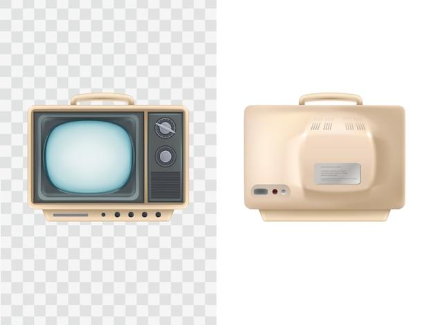 Televisore vintage. vista anteriore, posteriore. dispositivo televisivo