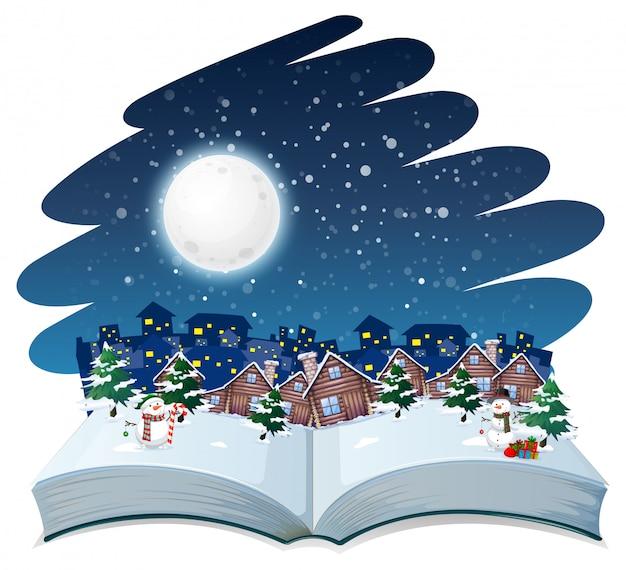 Tema all'aperto invernale a libro aperto