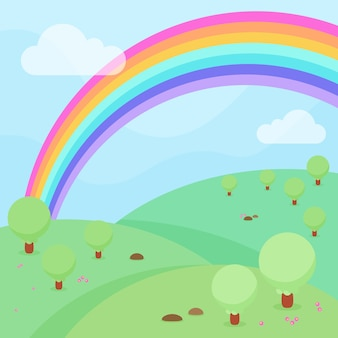 Tema arcobaleno design piatto