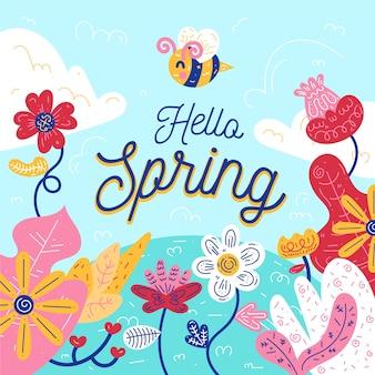 Tema artistico di ciao primavera concetto