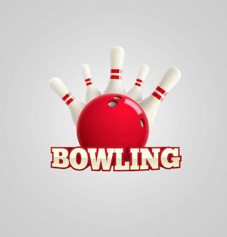 Tema bowling realistico vettoriale modificabile su sfondo bianco