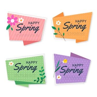 Tema collezione di etichette di design piatto primavera