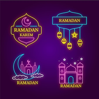 Tema collezione di insegne al neon del ramadan