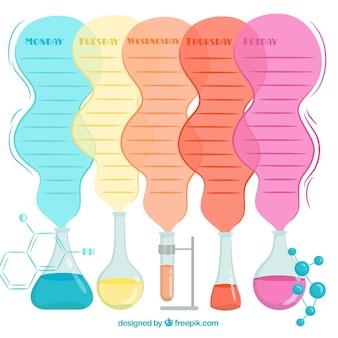 Tema colorato della scuola di orario template chimica