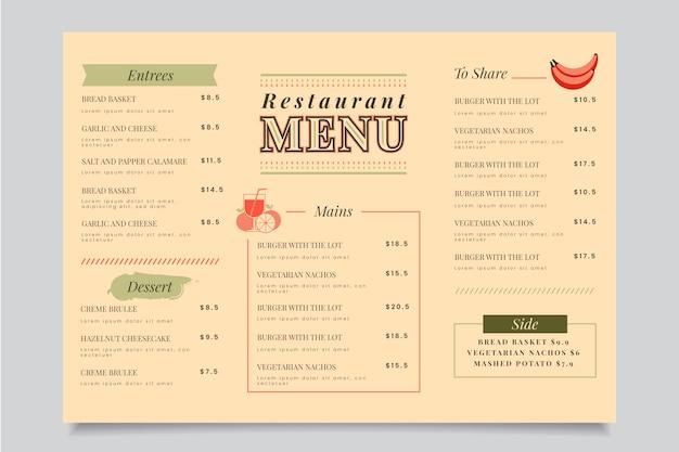 Tema colorato modello di menu del ristorante