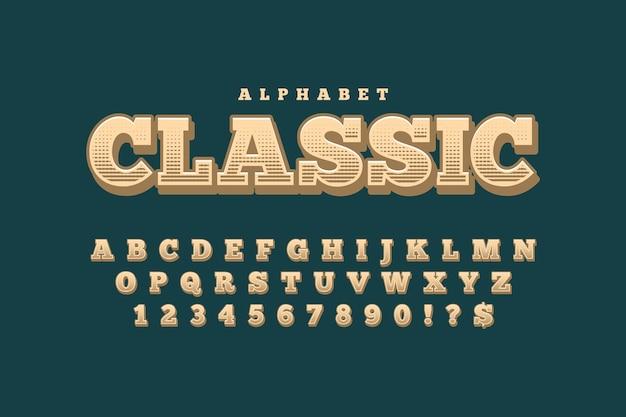 Tema con alfabeto retrò 3d