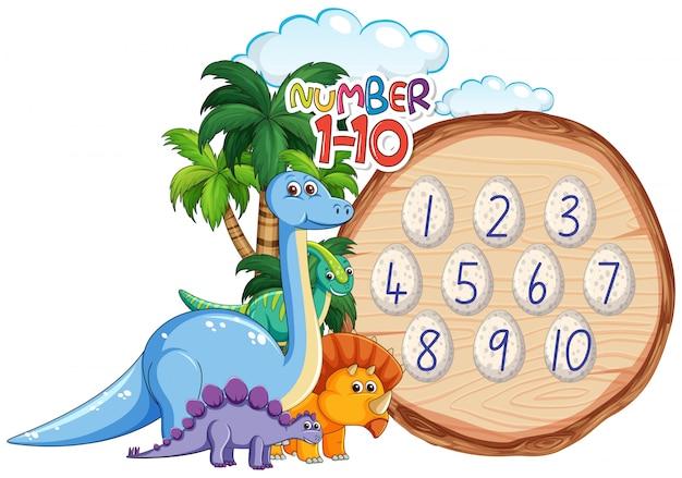 Tema dei dinosauri da numero a dieci
