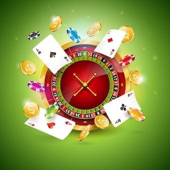 Tema del casinò con la ruota della roulette, carte da poker e fiches da gioco