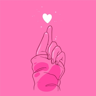 Tema del cuore dito disegnato a mano