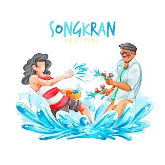 Tema del festival songkran dell'acquerello