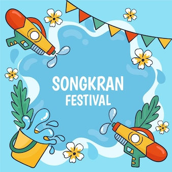 Tema del festival songkran disegnato a mano