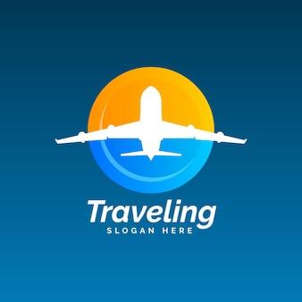 Tema del logo di viaggio dettagliato