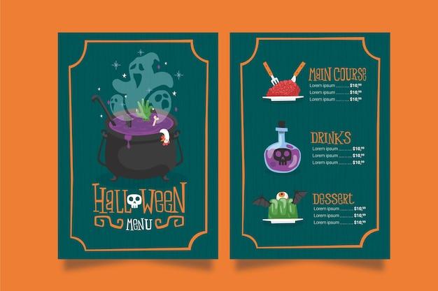 Tema del modello di menu di halloween