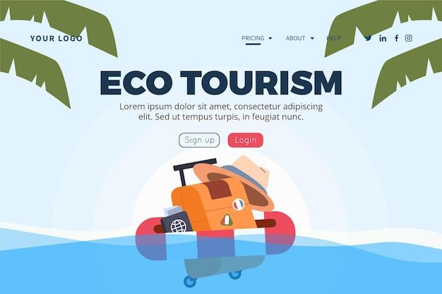 Tema del modello web della pagina di destinazione del turismo eco