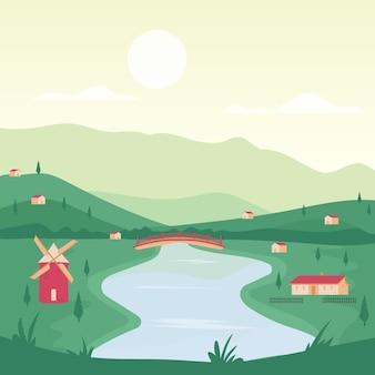 Tema del paesaggio di campagna