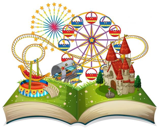 Tema del parco divertimenti a libro aperto
