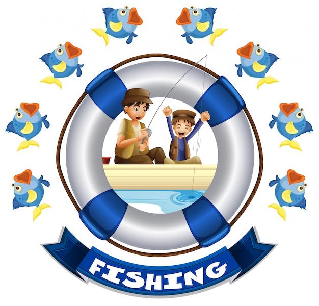 Tema del viaggio con la gente che pesca