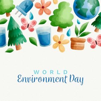 Tema dell'acquerello di giornata mondiale dell'ambiente