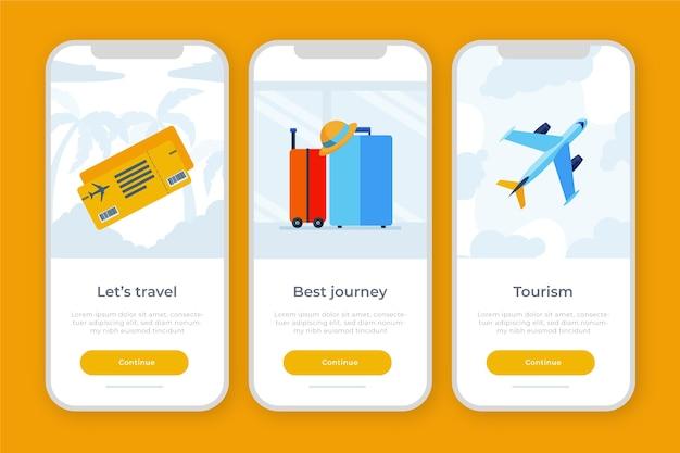 Tema dell'app onboarding per i viaggi