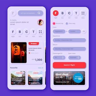 Tema dell'app per la prenotazione di viaggi