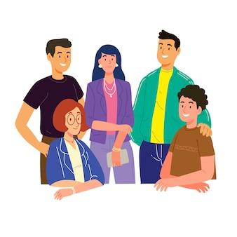 Tema dell'illustrazione con un gruppo di persone