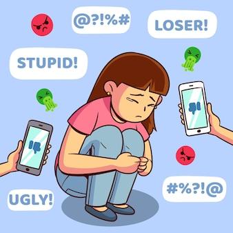 Tema dell'illustrazione di cyber bullismo