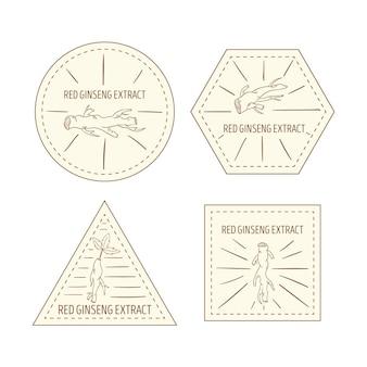 Tema dell'insieme dell'etichetta del barattolo del ginseng