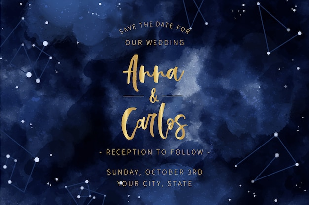 Tema dell'invito di nozze della galassia dell'acquerello
