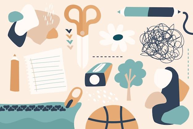 Tema della carta da parati di forme organiche astratte disegnate a mano