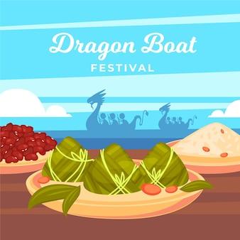 Tema della carta da parati di zongzi delle barche del drago