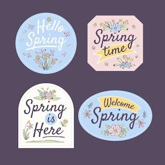 Tema della collezione di badge primavera disegnati a mano