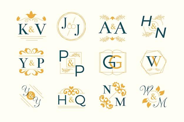 Tema della collezione monogramma floreale di nozze