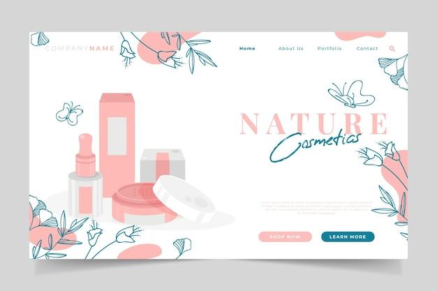 Tema della pagina di destinazione dei cosmetici naturali