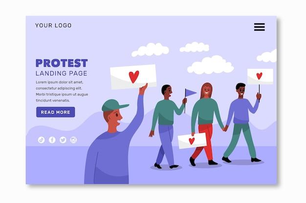 Tema della pagina di destinazione dello sciopero di protesta